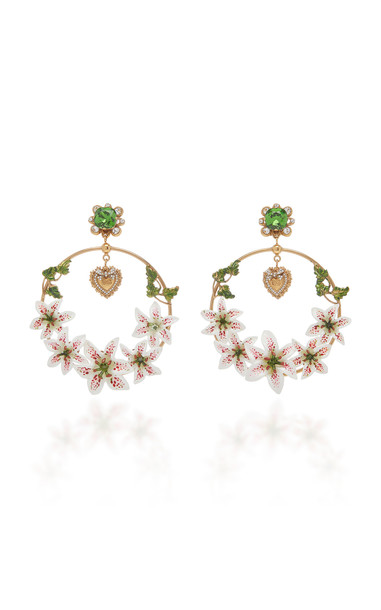 Dolce & Gabbana Lily-Embellished Hoop Earrings