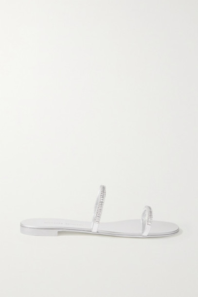 Giuseppe Zanotti - Crystal-embellished Metallic Leather Slides - Silver