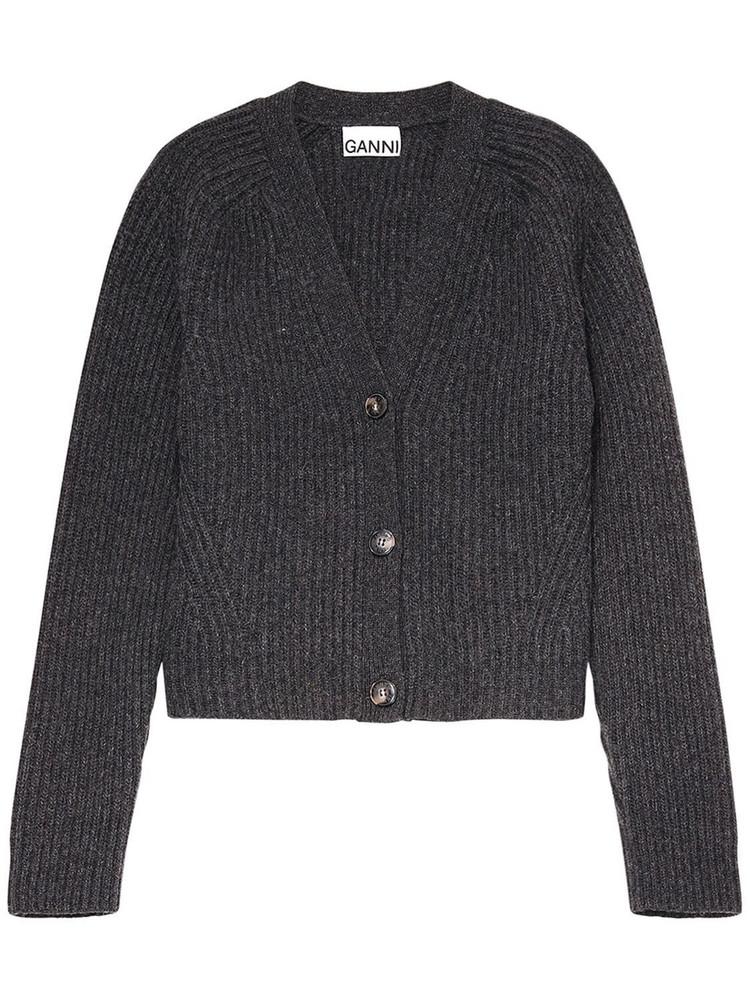 GANNI Wool Blend Rib Knit Cardigan in grey