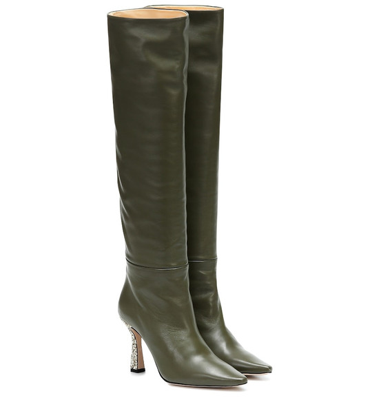 Wandler Lina embellished leather boots in green