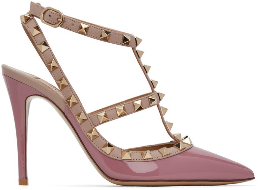 Valentino Garavani Pink Rockstud Cage Heels in rose