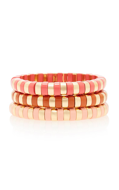 Roxanne Assoulin Sunset Set-Of-Three Gold-Tone and Enamel Bracelets in red