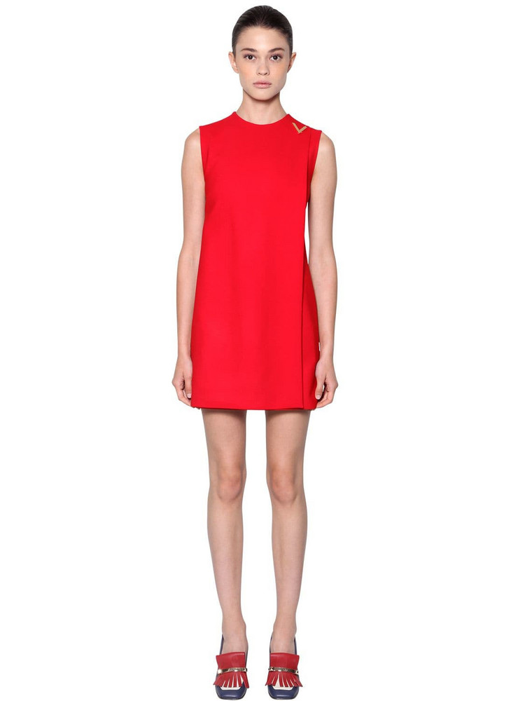 VALENTINO Double Stretch Wool Crepe Dress in red