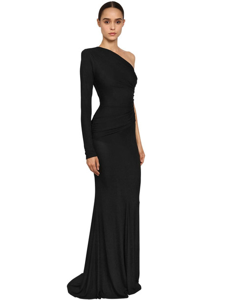 ALEXANDRE VAUTHIER One Shoulder Rib Knit Jersey Long Dress in black