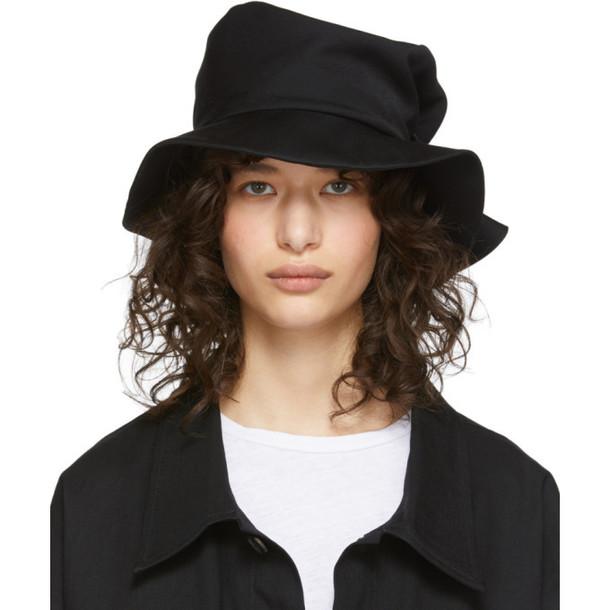 Ys Black Wool Gabardine Belt Hat