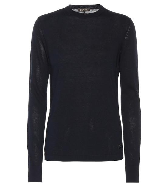 Loro Piana Silk and cotton crewneck sweater in blue