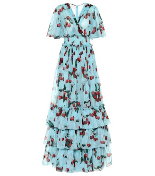 Dolce & Gabbana Exclusive to Mytheresa – cherry printed silk gown in blue