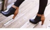 shoes,black booties with brown accent,heel boots