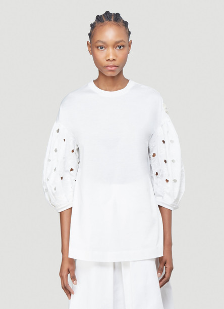 4 Moncler Simone Rocha Broderie Anglaise-Sleeved Top in White size S