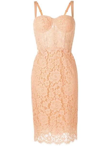 Dolce & Gabbana floral lace bustier dress in orange