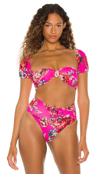 Maaji Ebony Reversible Bikini Top in Pink in rose