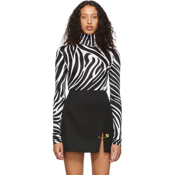 Versace Black and White Zebra Bodysuit