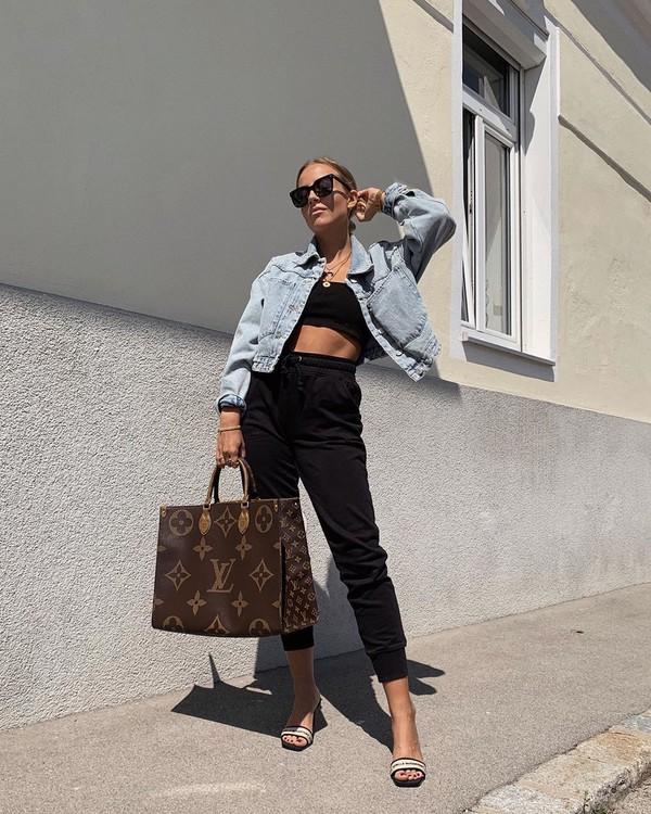 pants black pants sandal heels louis vuitton bag black top crop tops denim jacket