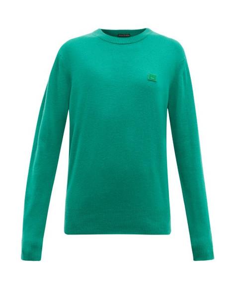 Acne Studios - Nalon Face Wool Sweater - Womens - Green