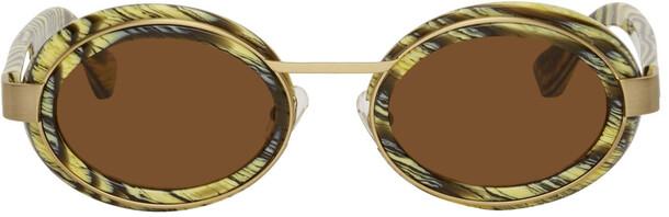Dries Van Noten Multicolor & Gold Linda Farrow Edition Round Sunglasses
