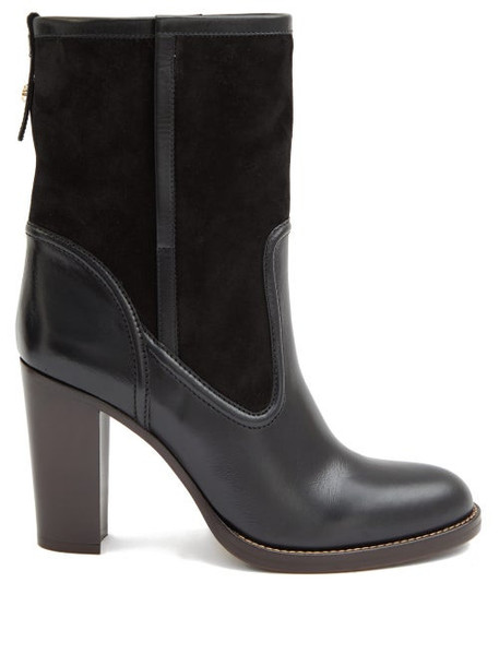 Chloé Chloé - Suede And Leather Ankle Boots - Womens - Black