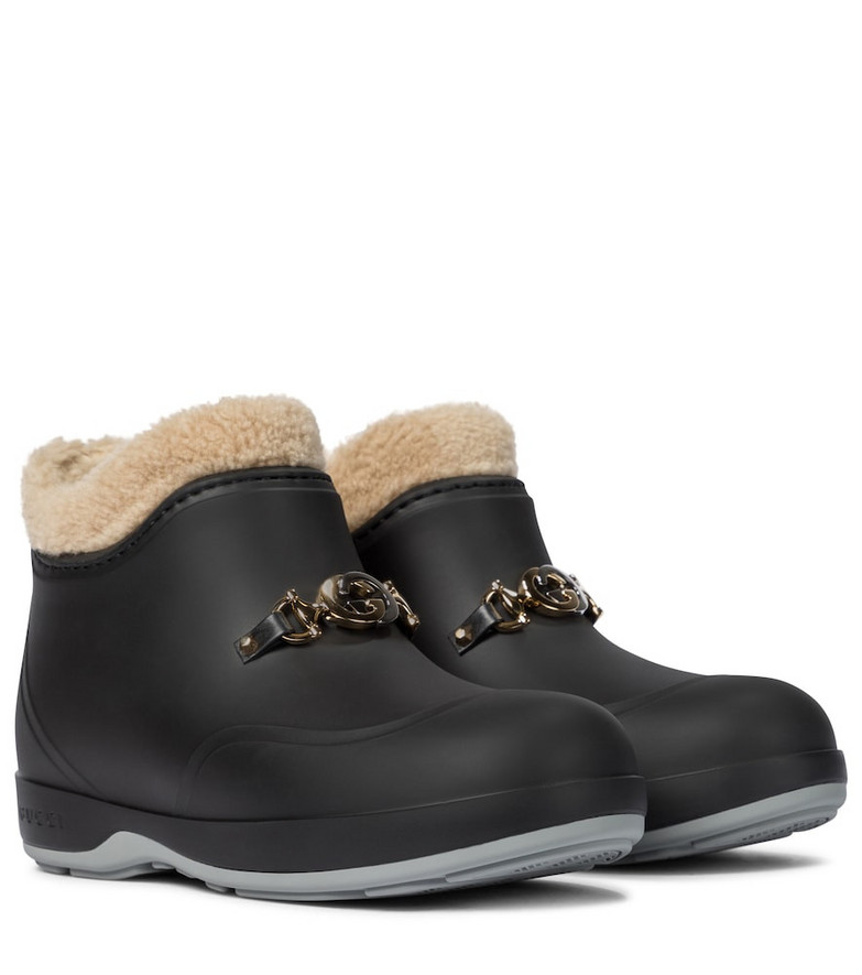 Gucci Faux shearling rubber ankle boots in black
