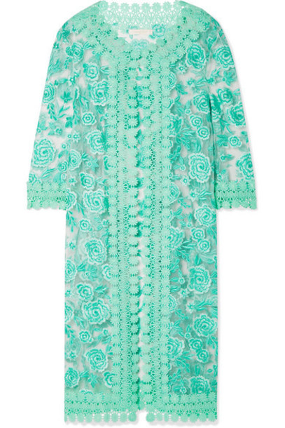 Naeem Khan - Guipure Lace-trimmed Embroidered Tulle Jacket - Mint