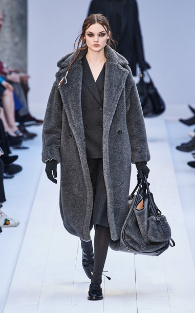 Max Mara Oversized Wool-Alpca Blend Teddy Coat in grey