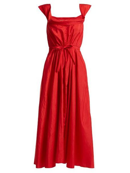 Brock Collection - Davi Square Neck Taffeta Dress - Womens - Red
