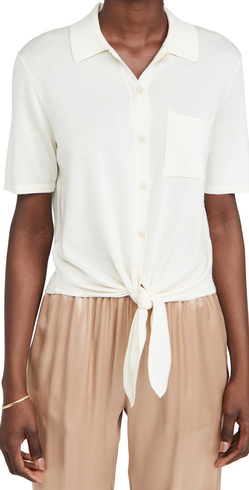 Theory Hekanina Tie Front Top in ivory