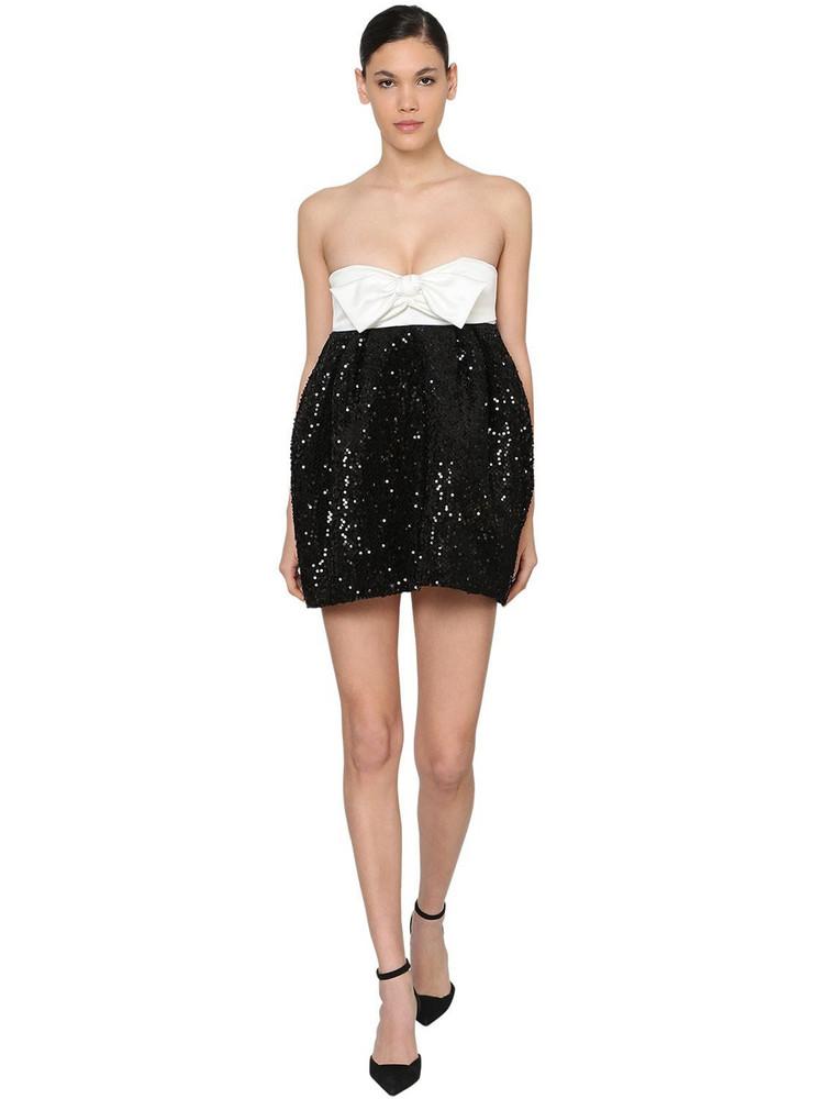 ALEXANDRE VAUTHIER Sequined Velvet & Satin Mini Dress in black