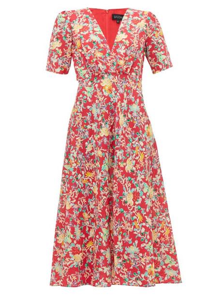 Saloni - Eden Floral Print Silk Midi Dress - Womens - Red Multi