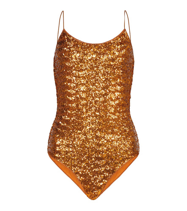 Oséree Exclusive to Mytheresa – Sequined swimsuit in orange