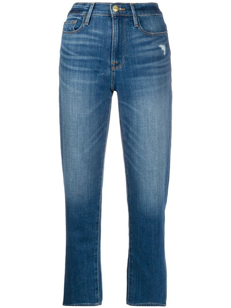 FRAME Le Nouveau Straight cropped jeans in blue