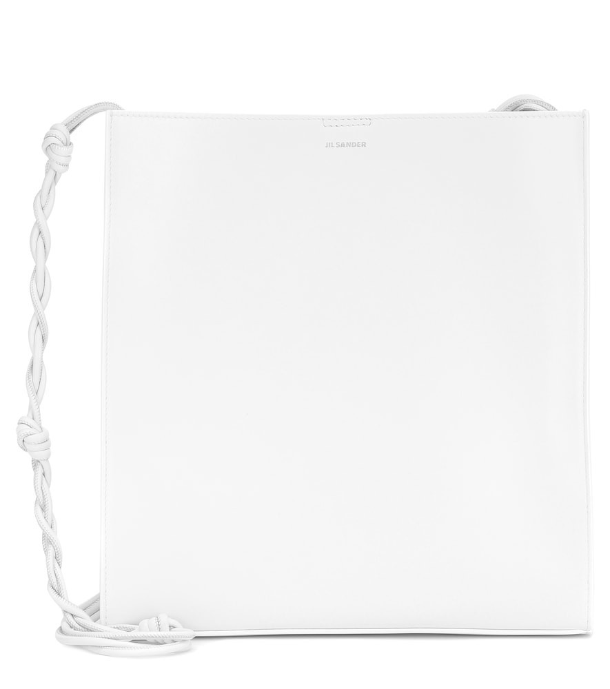 Jil Sander Tangle Medium leather shoulder bag in white