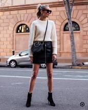 skirt,mini skirt,black skirt,high waisted skirt,black boots,ankle boots,heel boots,black bag,white sweater,black sunglasses
