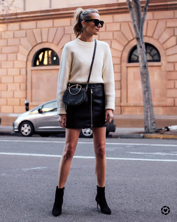 skirt mini skirt black skirt high waisted skirt black boots ankle boots heel boots black bag white sweater black sunglasses
