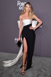 dress,black and white,candice swanepoel,celebrity,gown,prom dress,slit dress,sandals,sandal heels