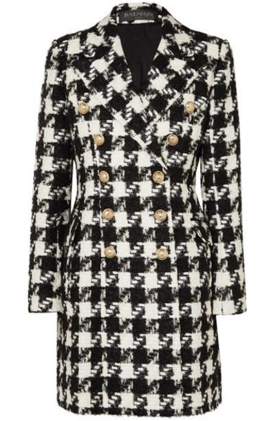 Balmain - Double-breasted Houndstooth Tweed Coat - Black