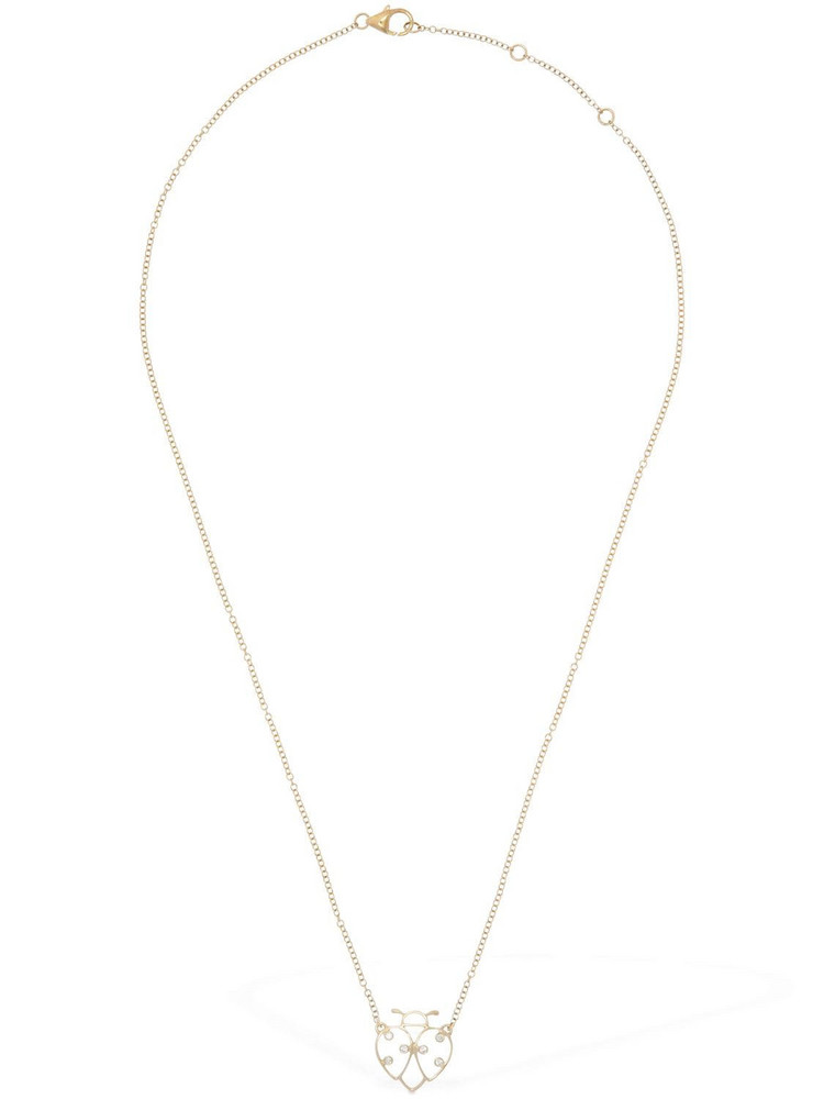 YVONNE LEON PARIS Lvr Exclusive Lady Bug Chain Necklace in gold / red