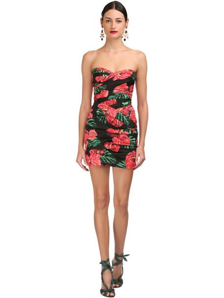 DOLCE & GABBANA Floral Stretch Poplin Strapless Dress in black / red