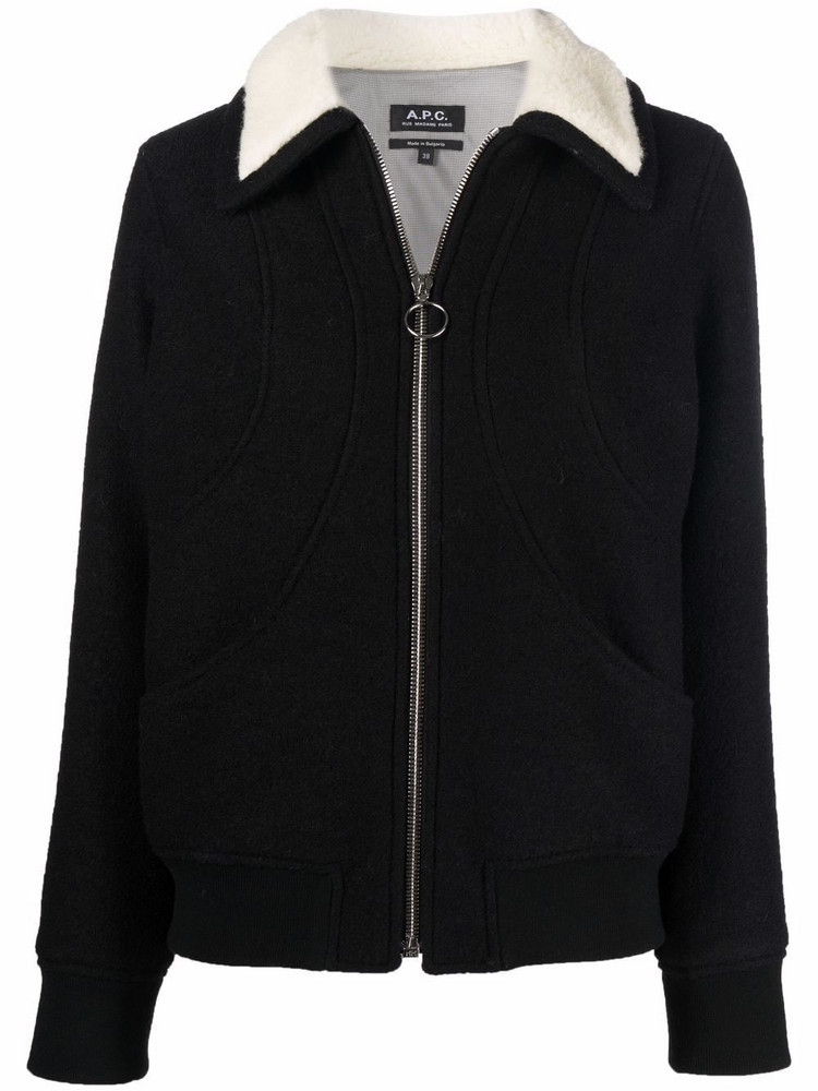 A.P.C. A.P.C. shearling-collar wool bomber jacket - Black