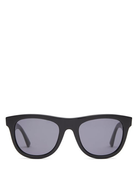 Bottega Veneta - D Frame Acetate Sunglasses - Womens - Black Grey