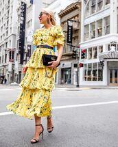 dress,pleated dress,maxi dress,off the shoulder dress,floral dress,yellow dress,ruffle dress,black sandals,black bag,gucci bag,gucci belt