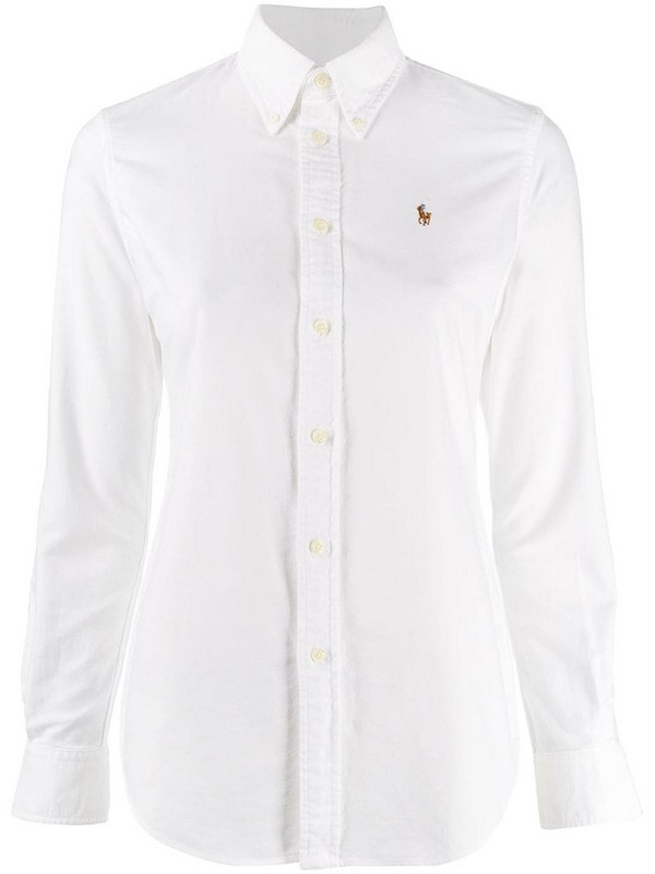 Polo Ralph Lauren embroidered logo shirt in white