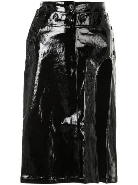Ann Demeulemeester exposed thigh midi skirt in black
