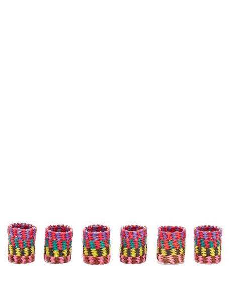 Sensi Studio - Set Of Six Straw Napkin Rings And Box - Womens - Pink Multi