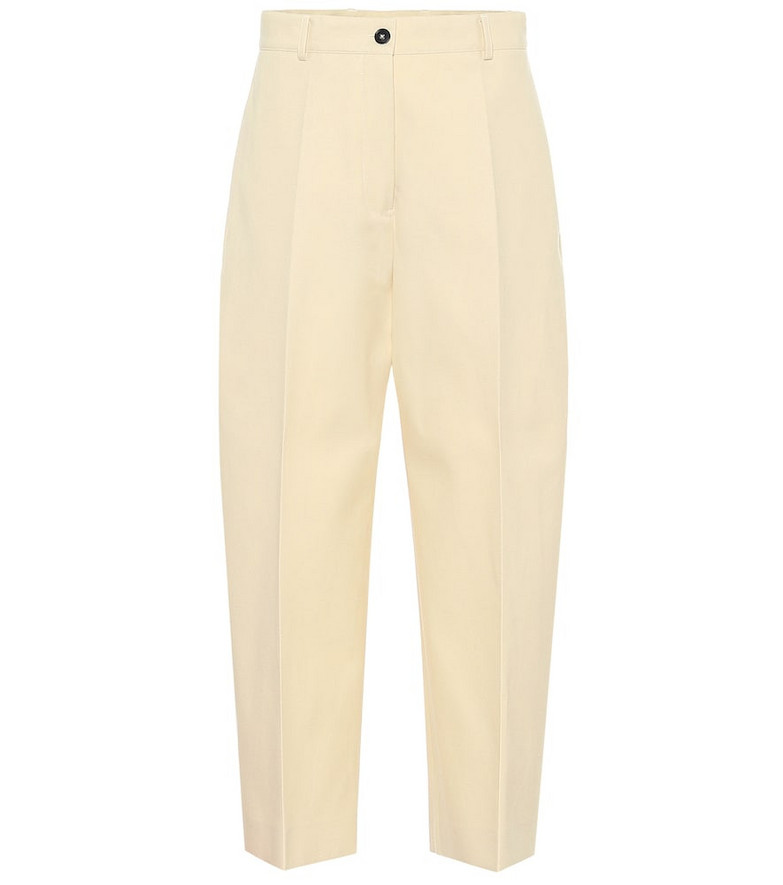 COLOVOS High-rise cotton-blend pants in beige