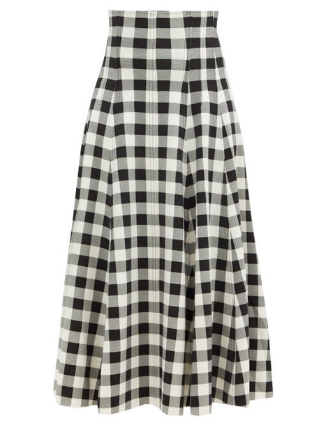 Norma Kamali - Grace High-rise Gingham-neoprene Midi Skirt - Womens - Black White