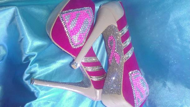 shoes pink heels custom heels rhinestone heels cancer superman superwoman survivor custom shoes glitter heel shoes
