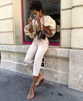 top,blouse,white pants,cropped pants,sandal heels,bag