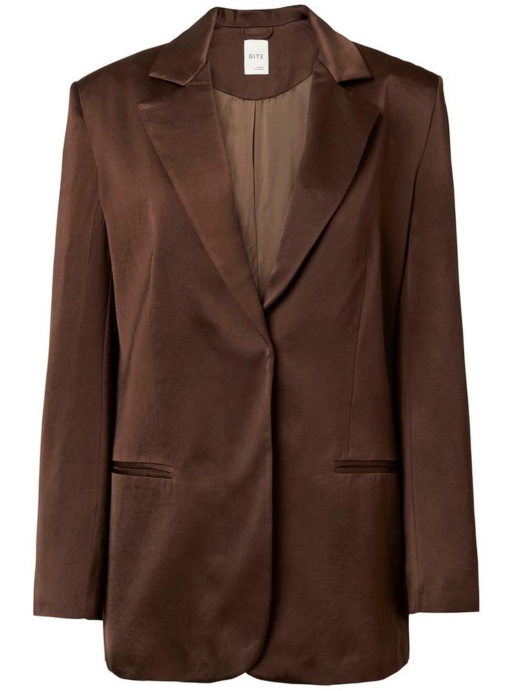 BITE STUDIO Fluid Suit Cupro Satin Jacket in brown