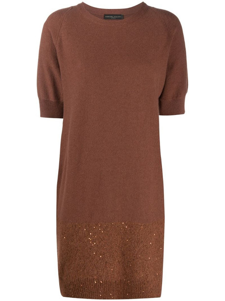 Fabiana Filippi sequin-embellished knitted dress in brown