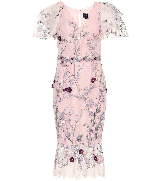 Marchesa Notte Embroidered tulle midi dress in pink