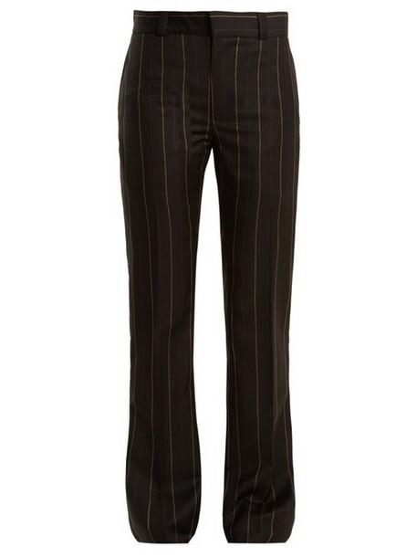 Wales Bonner - Beuys Pinstriped Slim Leg Wool Trousers - Womens - Black